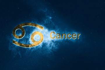 Cancer Horoscope Sign. Abstract night sky background