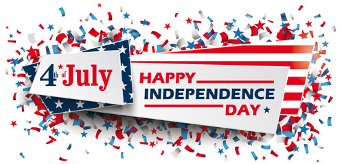 Independence Day Confetti Stars US Colors Header