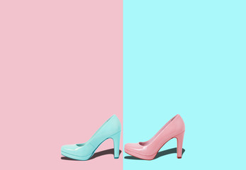 Fashion female pink shoes with heels. Women's footwear casual design isolated on blue background with free space for text.
