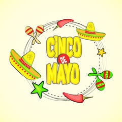 creative abstract for Cinco De Mayo with nice sombrero illustration in a white background.