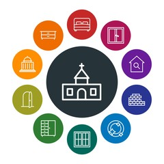buildings, furniture, housekeeping Infographic Colorful outline Icons Set. Contains such Icons as  christ,  wardrobe,  estate,  cabinet,  cross,  room,  doorway and more. Fully Editable. Pixel Perfect