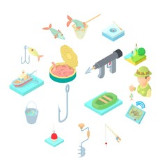 Fishing icons set in cartoon style. Fisher equipment set collection vector illustration