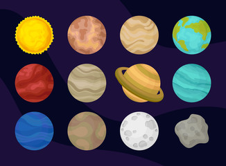 Flat vector set of planets of solar system. Space or astronomy theme. Exploration of universe. Elements for poster or presentation