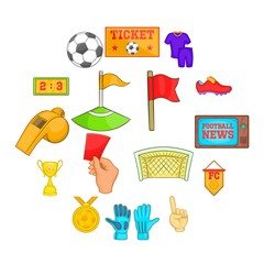 Soccer icons set in cartoon style. Football set collection vector illustration