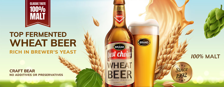 Refreshing wheat beer ad