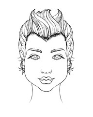 Line sketch of a girl with square face shape