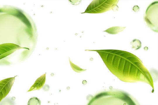 Flying green tea leaves background