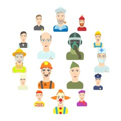 Profession icons set. Flat illustration of 16 profession vector icons for web