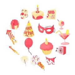 Happy birthday icons set. Cartoon illustration of 16 happy birthday vector icons for web
