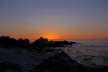 Beautiful view of the pacific coast at sunset, north of Tocopilla, Atacama Desert, northern Chile, South America