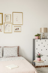 Cropped photo of bed with pillows, paintings and plants in a bedroom interior