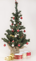 Decorated Christmas Tree, silk ribbons and golden parcels
