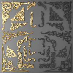 3D rendering of gilded stucco, collection cartouche
