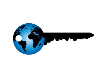 Vector silhouette of key with world on white background.