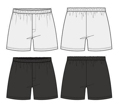 Pants Boxer Shorts fashion flat technical drawing template