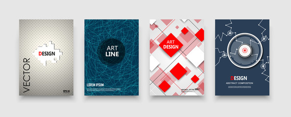 Abstract composition, red rhombus, tangle design, text frame surface, white a4 brochure title sheet, creative figure, construction, firm banner form, blue line, transparent contour, flier fiber.