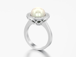 3D illustration silver diamond engagement wedding ring with pearl