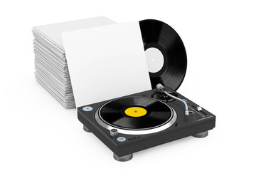 Professional DJ Turntable Vinyl Record Player near Stack of Vinyl Disks in Blank Paper Cases. 3d Rendering