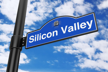 Silicon Valley Road Sign. 3d Rendering
