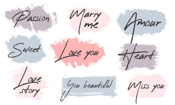 Vector brush stroke Boxes set. Painted strips, round, square. Grunge texture. The text about love for postcards. Pastel color on white background. Hand draw illustration.