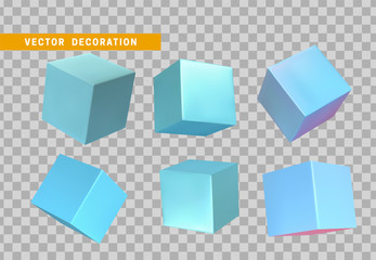 Design element set in shape of 3d cubes blue color. Square isolated with transparent background