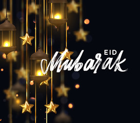 Eid Mubarak. Ramadan kareem. Background design is arabian vintage decorative hanging lamp with bokeh. Decoration light lantern, gold stars on ribbon golden.. Hand lettering white color