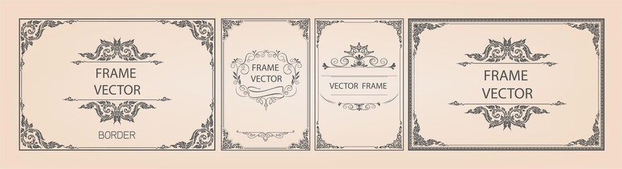 Set of gold border and frame template with corner Thailand line floral for picture, Vector design decoration pattern Thai art style.frame border design is pattern