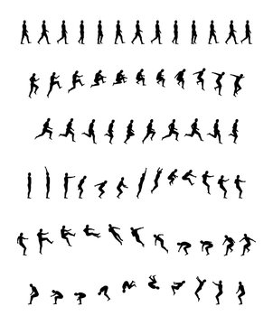 Walking, running, backflip, jogging, jumping, acrobatics, sports and healthy. man woman animation frames. Walk, run, jump actions vector illustration simple line icon symbol pictogram
