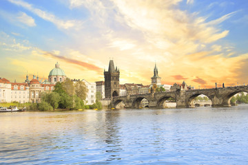 Beautiful view of Charles Bridge, Old Town and Old Town Tower of Charles Bridge, Czech Republic