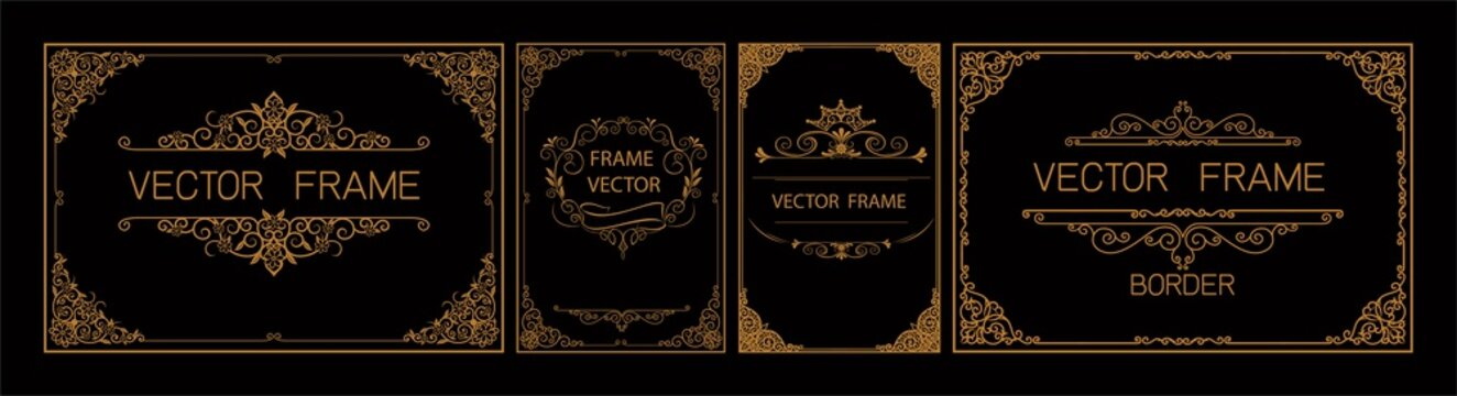 Pr	 Set of gold border and frame template with corner Thailand line floral for picture, Vector design decoration pattern Thai art style.frame border design is pattern