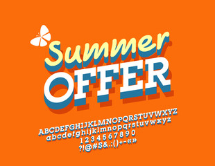 Vector Bright Poster Summer Offer. Font with Shadow. 3D Alphabet Letters, Numbers and Symbols.