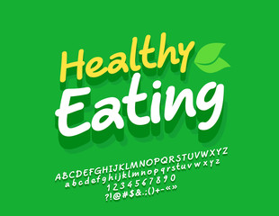 Vector Eco Sign Healthy Eating. Hand Written font with shadow. 3D Alphabet Letters, Numbers and Symbols.