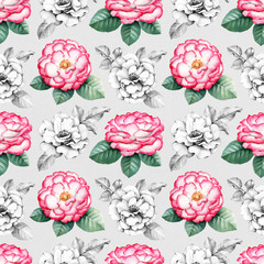 Wild rose flowers illustrations. Seamless pattern