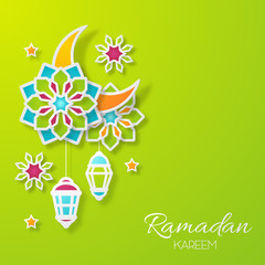 Ramadan kareem design background. Paper cut flowers, traditional lanterns, moon and stars. Vector illustration.