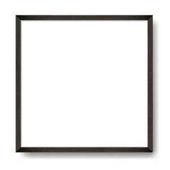 Square Blank framed poster on white wall. Vector template