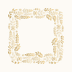 Squared hand drawn frame with herbs. Vector, isolated.