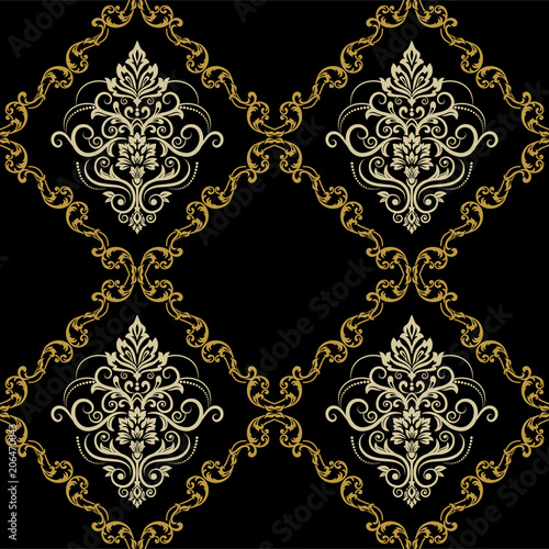 Seamless Damask Wallpaper Oriental Pattern Classic Vintage Background