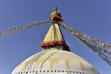 Stupa Bodnath oder Boudhanath oder Boudha, UNESCO-Weltkulturerbe, aufgemalte Augen, bunte Gebetsfahnen, tibetischer Buddhismus, Kathmandu, Kathmandutal, Nepal, Asien