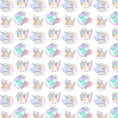 pencil watercolor seamlless pattern school on white background
