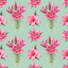 Watercolor illustrations of lily flowers. Seamless pattern