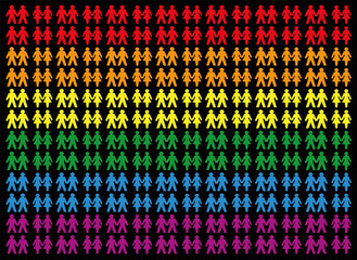 Gay pride colored background with gay and lesbian love couples, symbol for tolerance, equal rights and liberty concerning homosexual lifestyle - icons that form a colorful field. Vector on black.