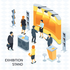 Exhibition Stand Isometric Vector Illustration