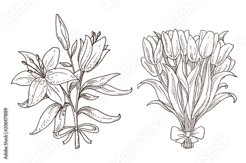 Black And White Het Of Hand Drawn Spring Bouquets Lily And Tulip