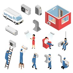 Air Conditioners Isometric Set