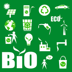 greenk eco icons, isolated on a white