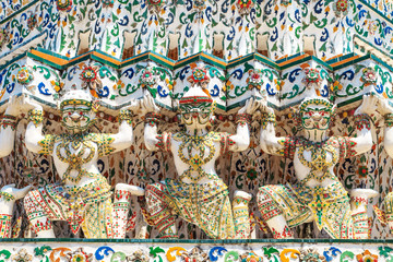 Carved walls in the temple of Wat Arun.