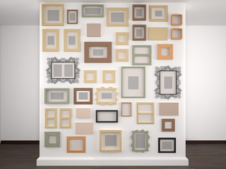 different frames on a white wall. 3d illustration