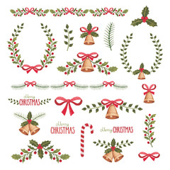 Watercolor christmas decorations collection.