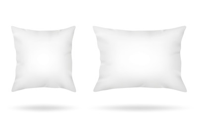 White pillows square and long rectangular isolated on white background
