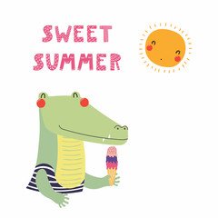 Hand drawn vector illustration of a cute funny crocodile in a vintage swimsuit, with ice cream, lettering quote Sweet summer. Isolated objects. Scandinavian style flat design. Concept children print.